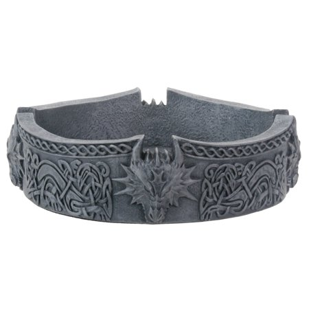 5.5 Inch Cold Cast Resin Black Dragon Ashtray with Intricate Etchings