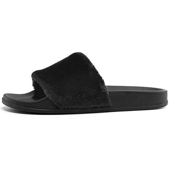 4b3b9580afa phoebecat - Black   Gray  Pink Single Strap Slipper Flat Sandals Fall Shoes  for Women