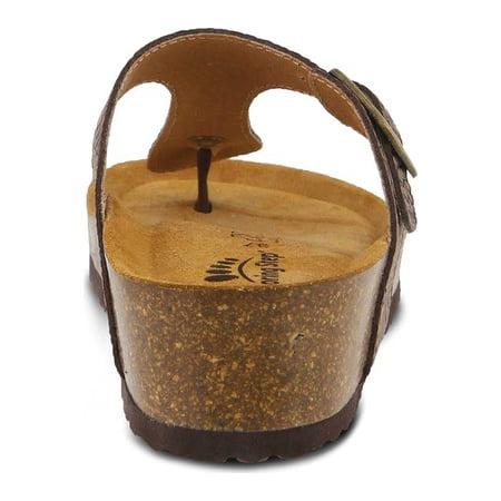 Women's Spring Step Estelle Thong Sandal Brown Leather 42 M - image 3 de 7