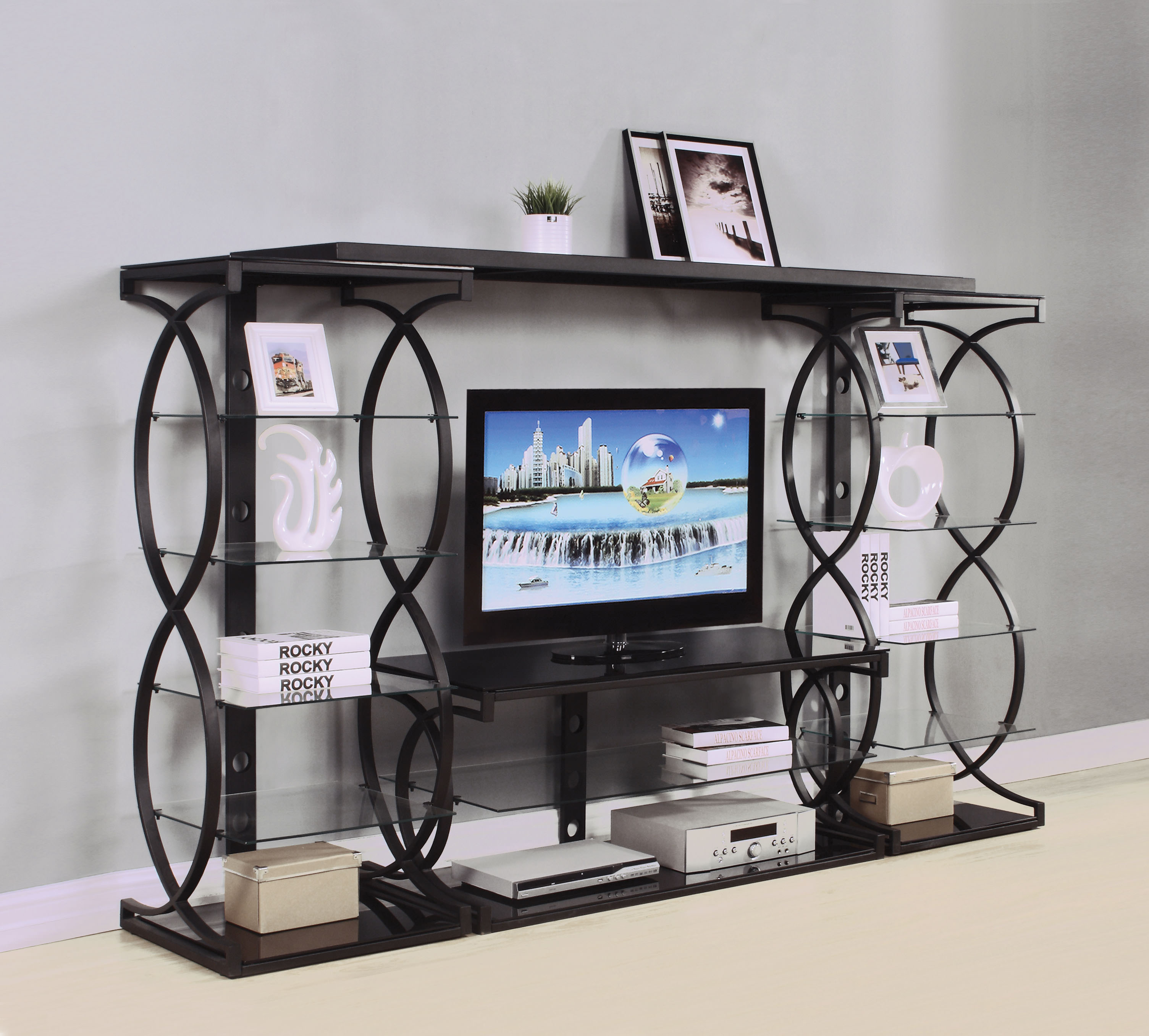 ACME Milo Entertainment Center and TV Stand in Sandy Black