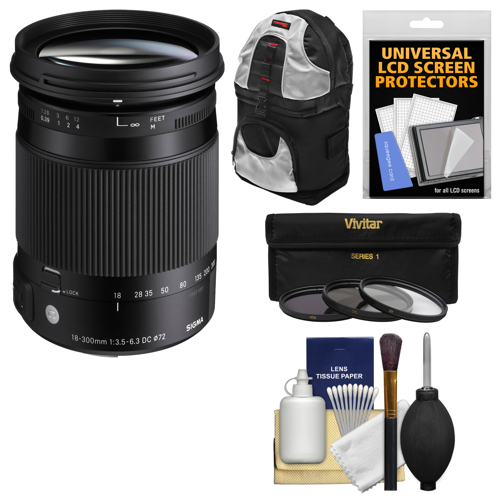 Sigma 18-300mm f/3.5-6.3 Contemporary DC Macro OS HSM Zoom Lens for Canon EOS DSLR Cameras with Sling Backpack + 3 UV/CPL/ND8 Filters + Kit