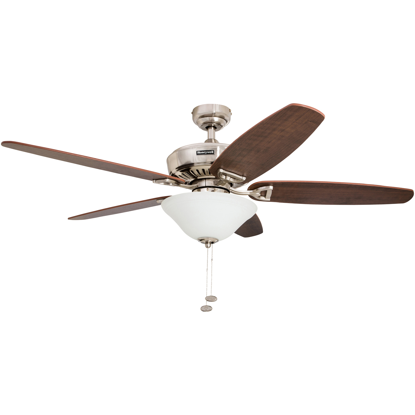 """52"""" Honeywell Belmar Brushed Nickel Ceiling Fan with Bowl Light"""