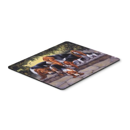 Basset Hound Puppies, Momma and Daddy Mouse Pad, Hot Pad or Trivet BDBA0276MP