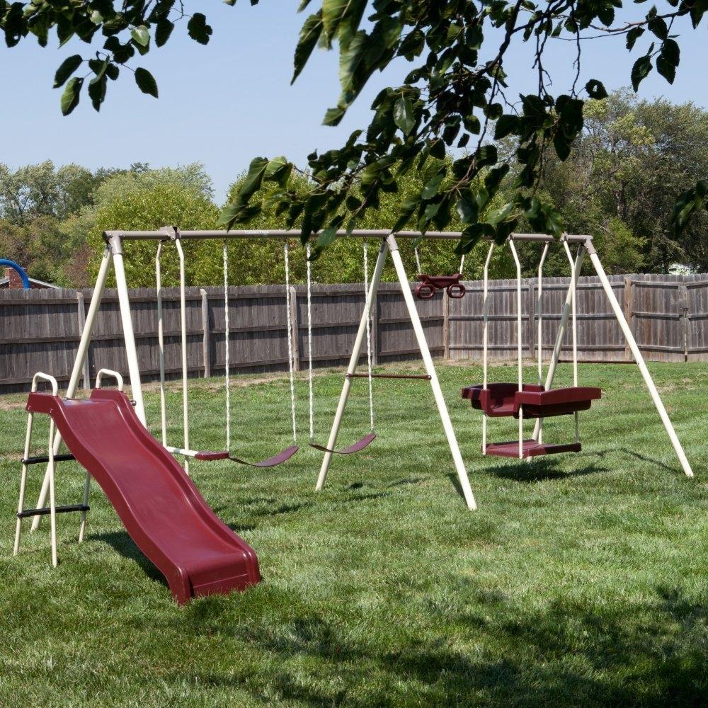 Flexible Flyer Play Park Swing Set w/ Slide, Swings, Air-...