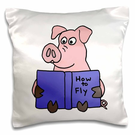 3drose Funny Pig Reading How To Fly Book Pillow Case 16