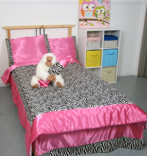 SoHo Hot Pink Satin and Zebra Print Chenille Twin Kids Childrens Bedding Set 4 pcs ** Monthly Special !**