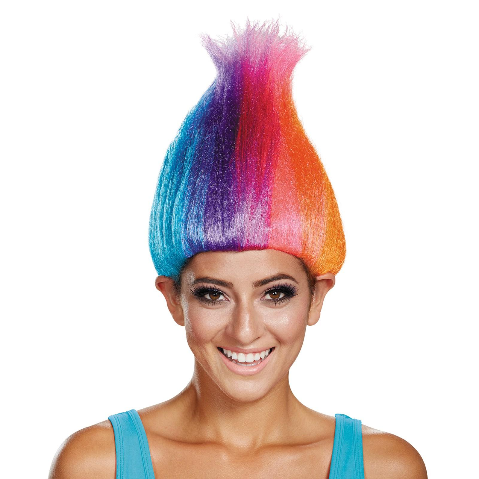 Trolls - Rainbow Colored Adult Troll Wig