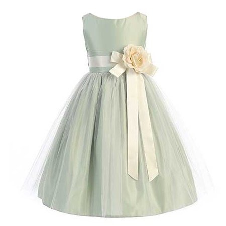Sweet Kids Girls Sage Ivory Floral Accent Junior Bridesmaid Dress - Sweet Dresses For Girls