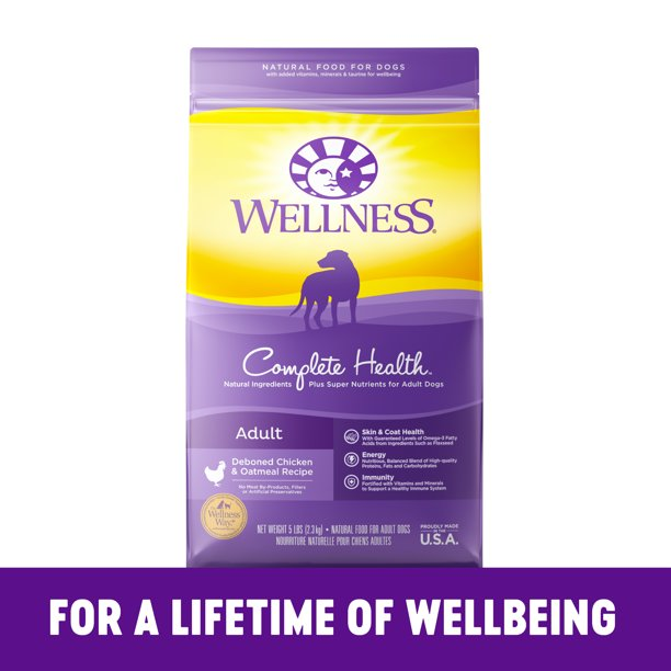 Wellness Complete Health Natural Dry Dog Food, Chicken & Oatmeal, 15-Pound Bag