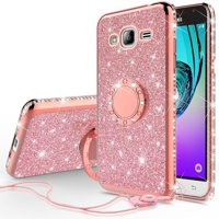 SOGA Diamond Bling Glitter Cute Phone Case with Kickstand Compatible for Samsung Galaxy S8 Case,Rhinestone Bumper Slim with Ring Stand Girls Women Cover for Samsung Galaxy S8 - Rose Gold