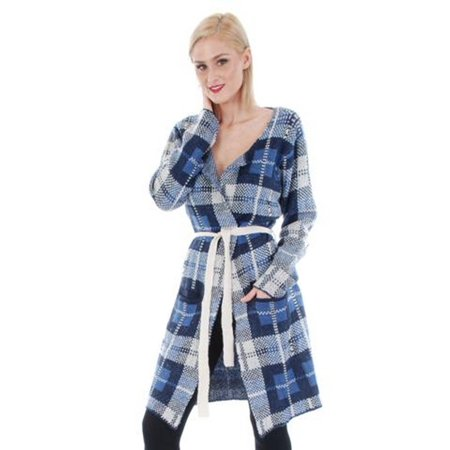 Belted Petite Cardigan - Cathaya Women's Blue Gingham Pattern Belted Long Sleeve Sweater Cardigan