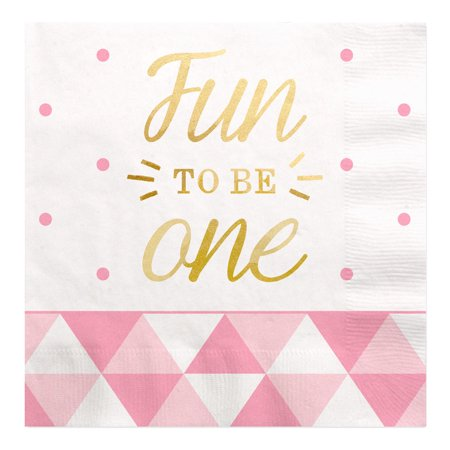 Golf Napkins - Fun to be One - 1st Birthday Girl with Gold Foil - Luncheon Napkins (16 count)