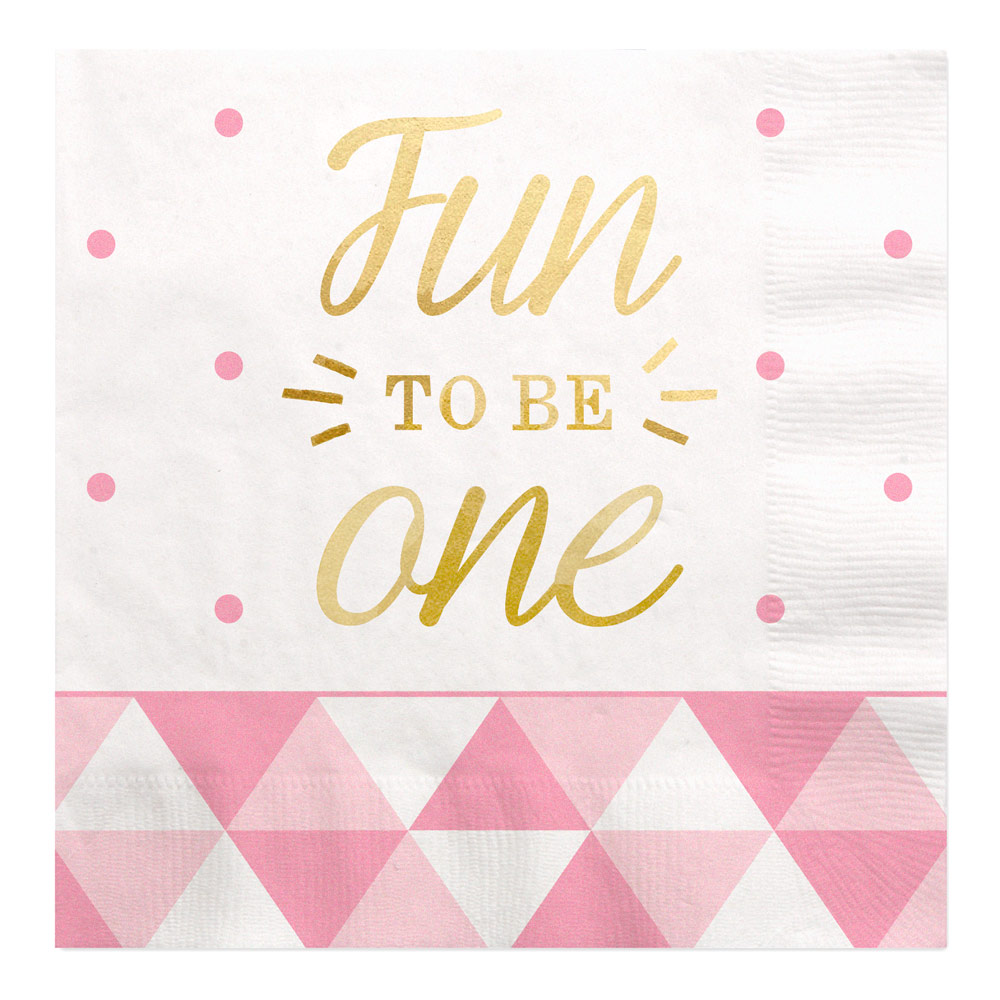 Fun to be One - 1st Birthday Girl with Gold Foil - Luncheon Napkins (16 count)