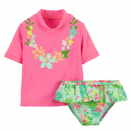 Carters Infant Girls Pink Swimming Suit Hawaiian Rash Guard Cover Up Swim 18m](Hawaiian Suit)