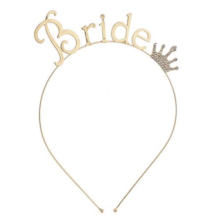 Lux Accessories Gold Tone Rhinestone Crown Bride Bridal Bachelorette -