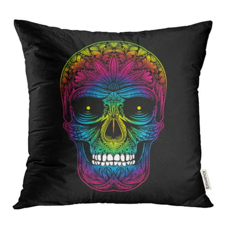 CMFUN Blue Floral Color Tattoo Skull on Black Colorful Rainbow Abstract Bone Creative Day Pillow Case Pillow Cover 18x18 inch Throw Pillow Covers