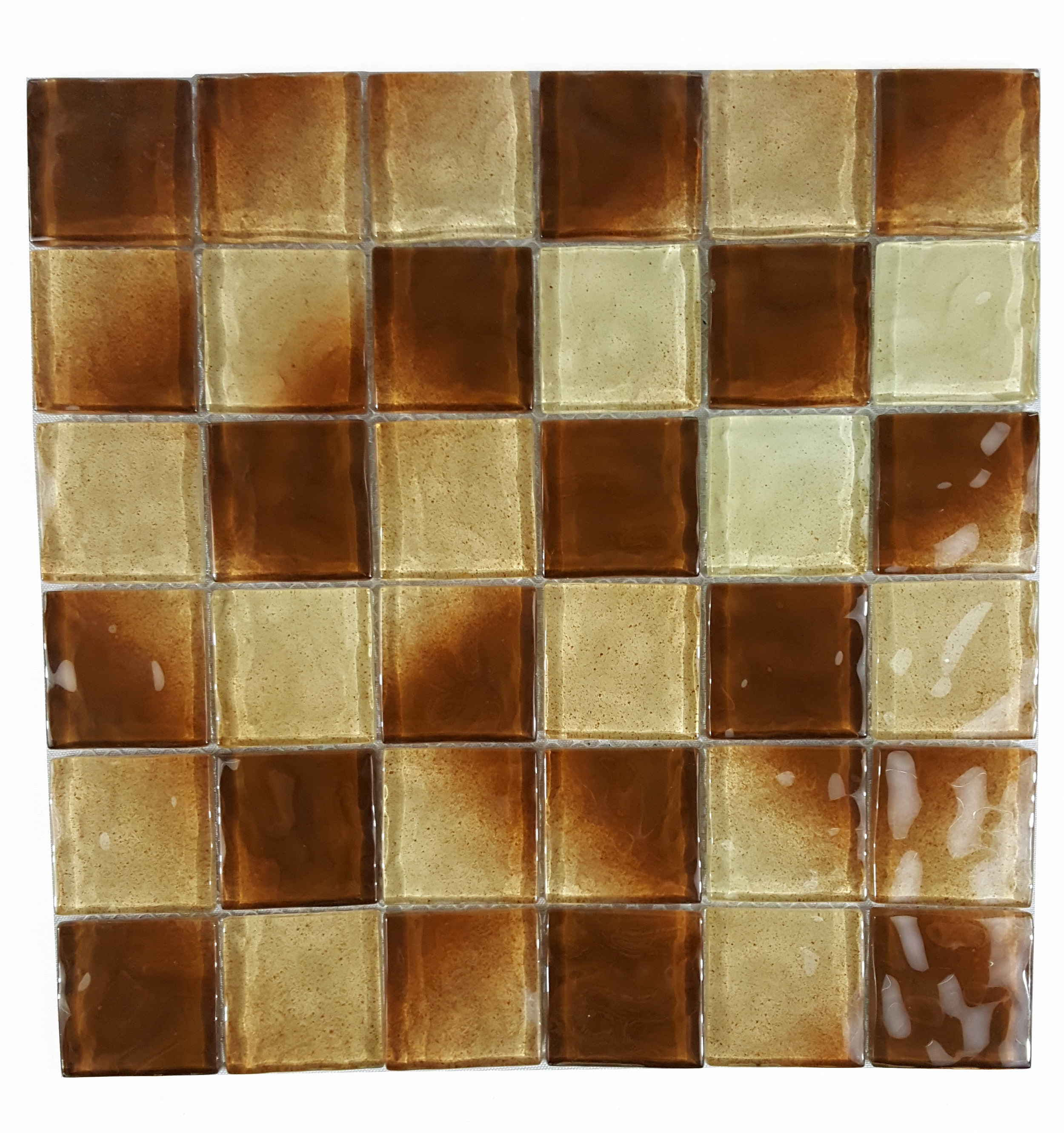 "Abolos- Watermarks 2"" x 2"" Glass Mosaic Backsplash Tile in Brown (4.9sqft / 5pcs)"