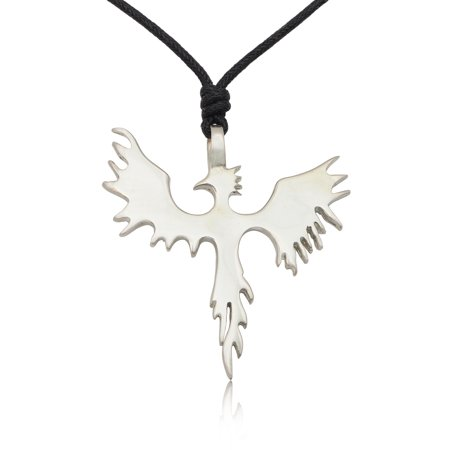 Trendy Phoenix Bird Silver Pewter Charm Necklace Pendant Jewelry With Cotton Cord Silver Bird Pendant