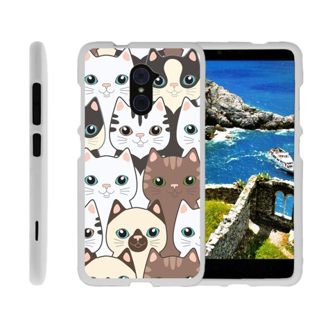 ZTE Max Duo Z988, ZTE Imperial Max, ZTE Kirk, Z963U, [SNAP SHELL][White] Hard White Plastic Case with Non Slip Matte Coating with Custom Designs - Cute Kittens