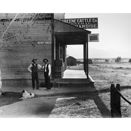 Arizona General Store 1909 Ntwo Men Outside Of A General Store And Notary Public In Hereford Arizona Photograph 1909 Poster Print By Granger Collection