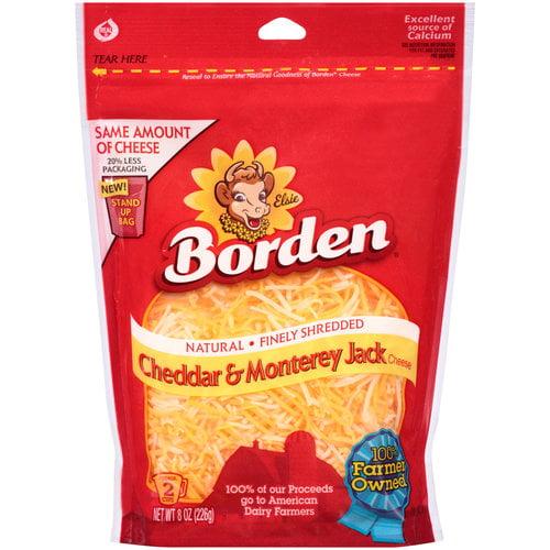 Borden Natural Finely Shredded Cheddar & Monterey Jack Cheese, 8 oz
