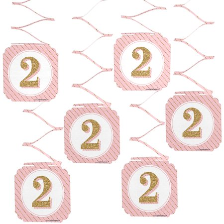 Two Much Fun - Girl - 2nd Birthday Party Hanging Decorations - 6 Count - Girl 2 Birthday Party Ideas