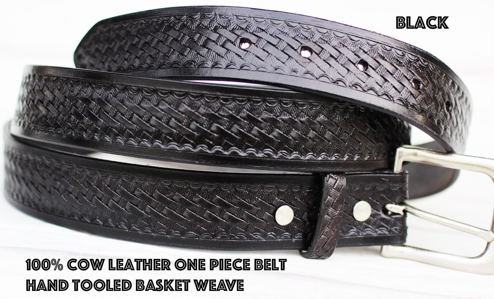 Cowhide 100% Leather Basketweave Uniform Mens Belt Black 2609RS02BK