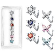 Body Accentz� L Bend 316L Surgical Steel Nose Stud Rings Butterfy and Flowers 20g 6pc