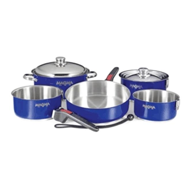 Magma A10-360L-CB Nestable 10 Piece Stainless Steel Cookware, Cobalt Blue
