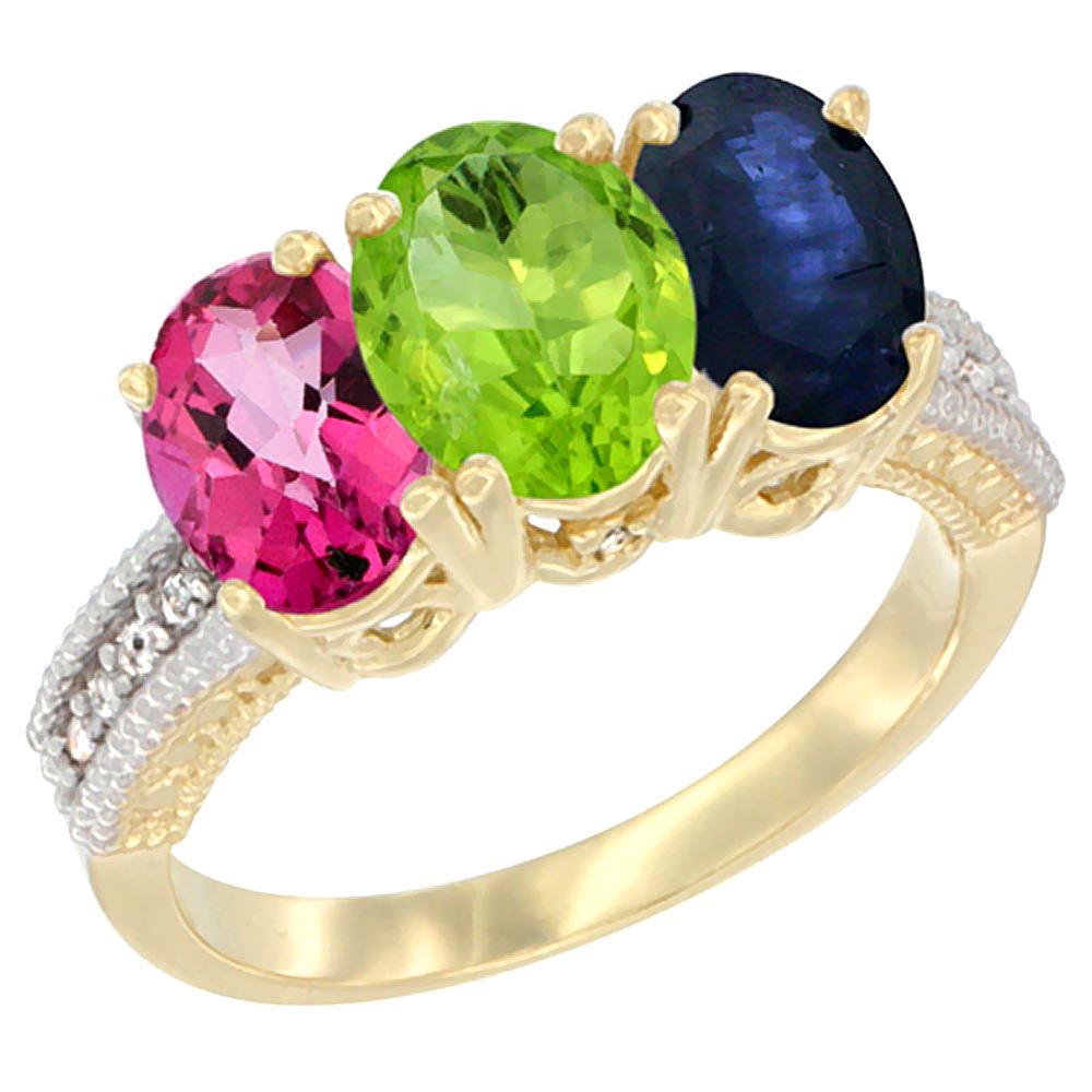 14K Yellow Gold Natural Pink Topaz, Peridot & Blue Sapphire Ring 3-Stone 7x5 mm Oval Diamond Accent, sizes 5 10 by WorldJewels