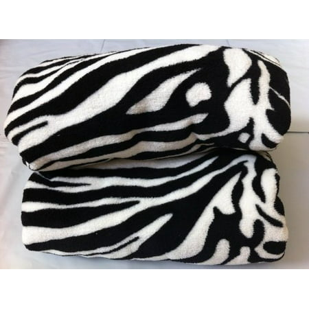 Twin Size Animal Print Fleece Blanket Leopard Zebra Giraffe Soft Plush Microfiber Throw Blankets (White Zebra)
