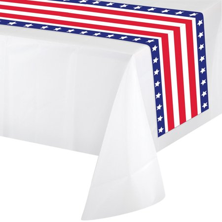 Pack of 12 White and Red Patriotic Party Banquet Table Runners 14