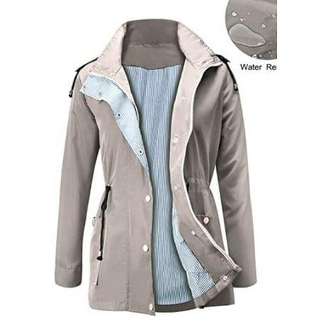 Women Hooded Outdoor Clothes Waterproof Lightweight Rain Coat Rain Jacket - image 1 de 3