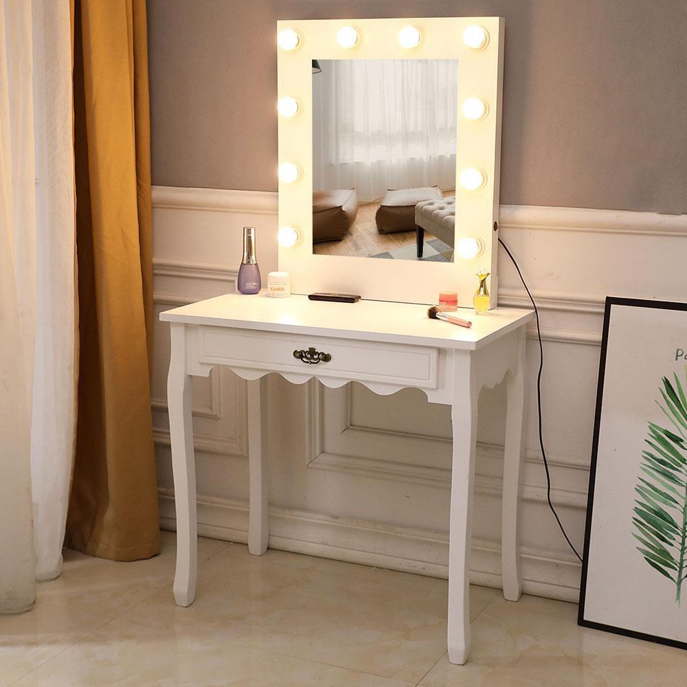 outstanding bedroom vanity table lights | Zimtown White Vanity Set Makeup Dressing Table with 10 ...