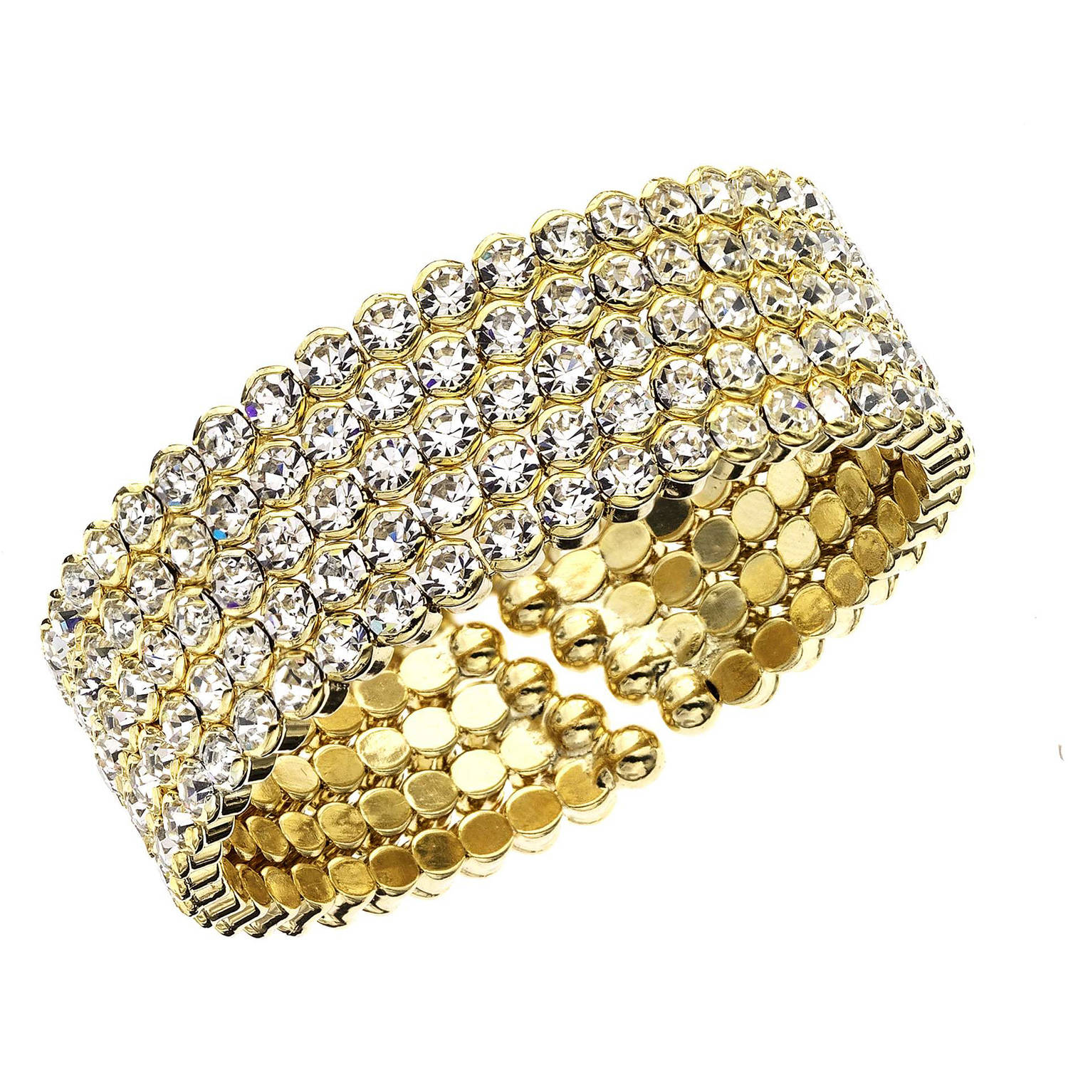 X & O 14kt Gold-Plated Five-Row Honeycomb Cuff Bracelet, One Size