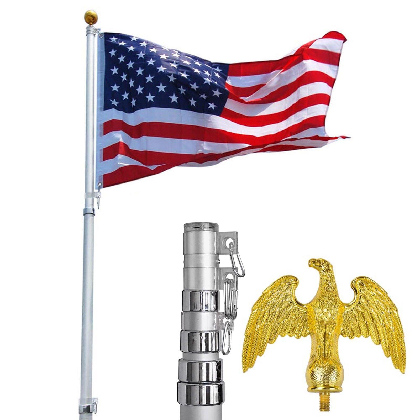 GHP 25' Aluminum Telescoping Flagpole with 3'x5' American...
