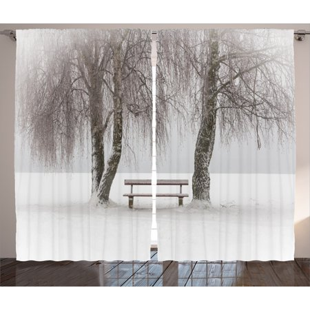 Farm House Decor Curtains 2 Panels Set, Bench in the Snow Trees Winter Picture Snowflakes Christmas Season Art, Window Drapes for Living Room Bedroom, 108W X 90L Inches, White Brown, by Ambesonne ()