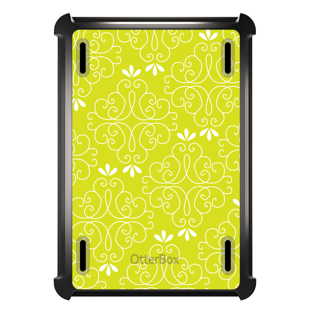 CUSTOM Black OtterBox Defender Series Case for Apple iPad Mini 1 / 2 / 3 - Yellow White Floral