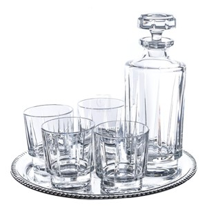 6-Piece Estate Whiskey Drinkware Barware Drink Set with 4 Double Old Fashioned Glasses, Silver-Plated Round Mirror Tray and Decanter