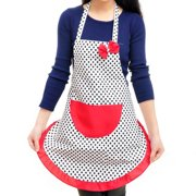 Fruit Coffee Shop Woman Canva Dots Pattern Halter Neck Pocket Apron Bib