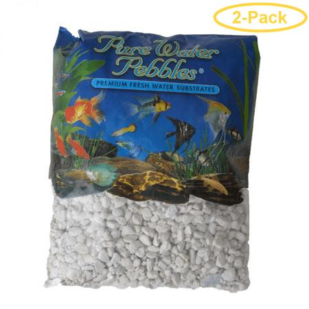 White Aquarium Gravel - Pure Water Pebbles Aquarium Gravel - Platinum White Frost 5 lbs (8.7-9.5 mm Grain) - Pack of 2
