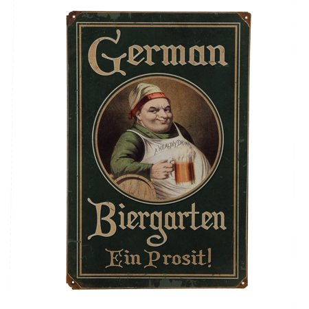 Vintage German Biergarten Metal Bar Sign for $<!---->