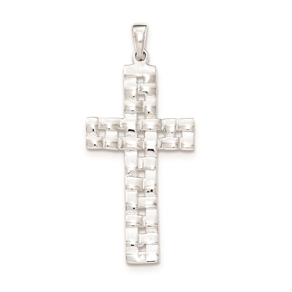 925 Sterling Silver Weave Cross Polished Charm Pendant