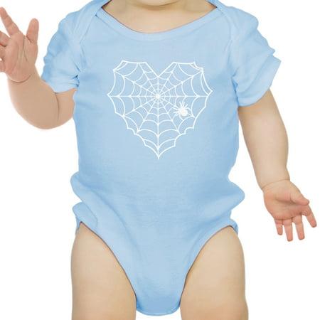 Heart Spider Web Baby Halloween Bodysuit Blue Cotton Infant Bodysuit