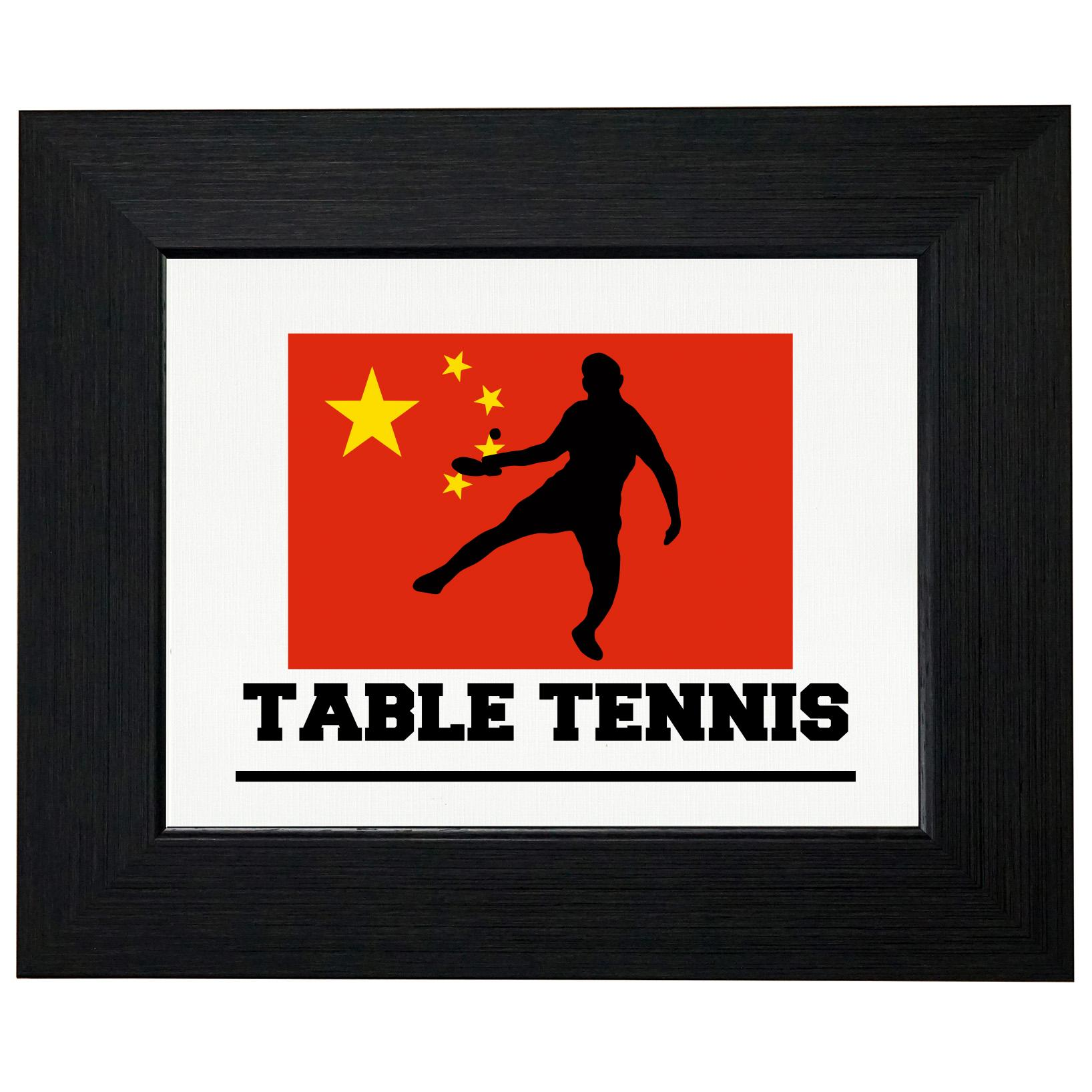 China Olympic Ping Pong Flag Silhouette Framed Print Poster Wall or Desk Mount Options by Royal Prints