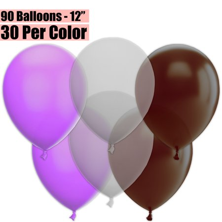 Clear Helium Balloons (12 Inch Party Balloons, 90 Count - Lavender + Clear + Brown - 30 Per Color. Helium Quality Bulk Latex Balloons In 3 Assorted Colors - For Birthdays, Holidays, Celebrations,)