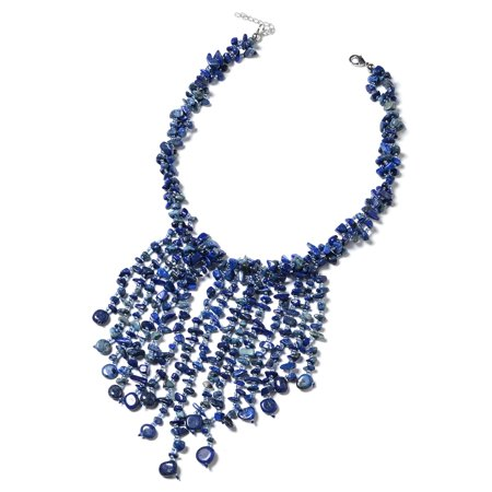 Women's Lapis Lazuli Blue Glass Silvertone Fringe Bib Necklace Jewelry Gift - Fringe Bib Necklace