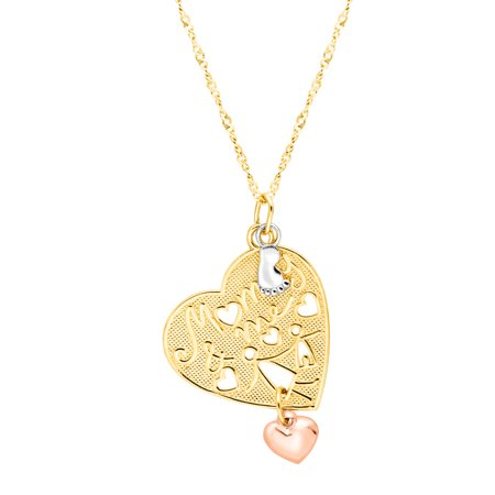 'Mommy & Me' Heart Charm Pendant Necklace in 18kt Gold-Plated Sterling Silver
