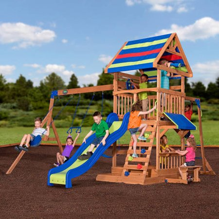 Backyard Discovery Tucson Cedar Wooden Swing Set backyard discovery beach front wooden cedar swing set - walmart