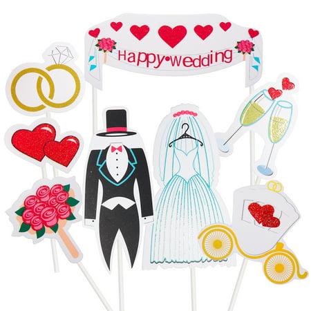 8pcs Happy Wedding Cake Topper Cake Table Dessert Decoration Set for Wedding Party